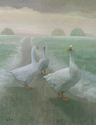 Ducks Painting - Wandering Geese by Steve Mitchell
