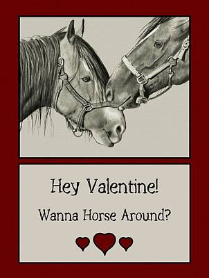Drawing - Wanna Horse Around Valentine by Joyce Geleynse