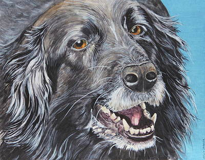 Black Lab Watercolor Painting - Wanna Play Wanna Play by Helen Shideler