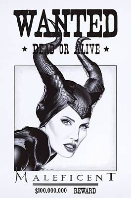 Maleficent Painting - Wanted - Ballpoint Pen Art by Andrey Poletaev