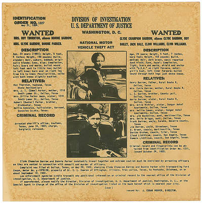 Celebrities Photograph - Wanted Poster - Bonnie And Clyde 1934 by F B I
