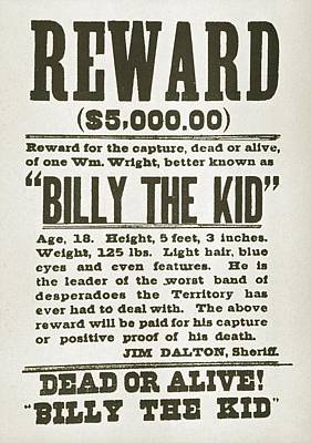 Bsloc Photograph - Wanted Poster For Billy The Kid by Everett