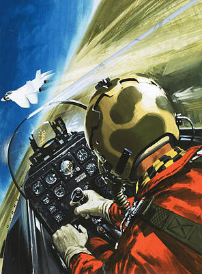 Airplane Painting - War In The Air by Wilf Hardy