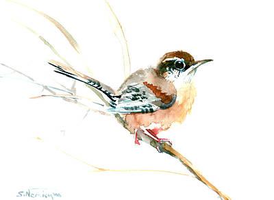 Beach House Drawing - Warbler Songbird Art  by Suren Nersisyan
