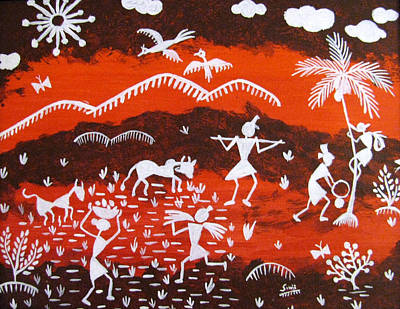 Garden Scene Mixed Media - Warli Village Scene by Sowjanya Sreeram