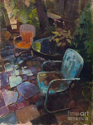 Kansas Artist Painting - Warm Chairs Wet Patio by Patrick Saunders
