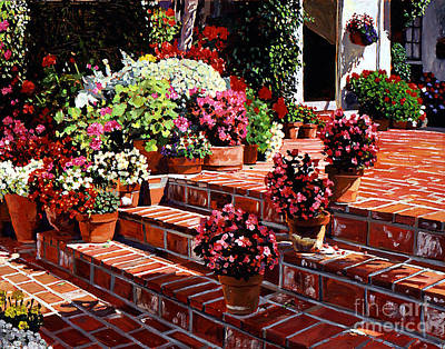 Bed Painting - Warm Patio by David Lloyd Glover