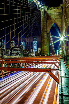 Perspective Photograph - Warp Speed Out Of Manhattan by Az Jackson