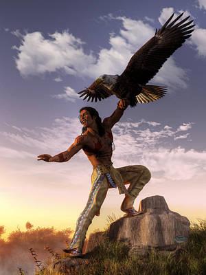 Warrior And Eagle Print by Daniel Eskridge