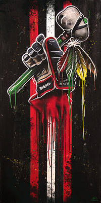 Hawks Mixed Media - Warrior Glove On Black by Michael Figueroa
