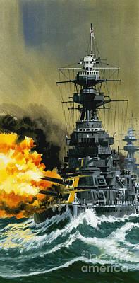Warship Print by Wilf Hardy