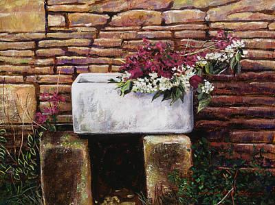 Cut Flowers Painting - Wash Basin Flowers by David Lloyd Glover