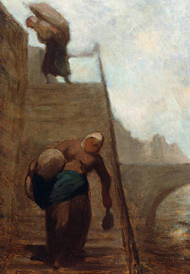Heavy Woman Painting - Washerwomen On The Steps Of The Quay by Honore Daumier