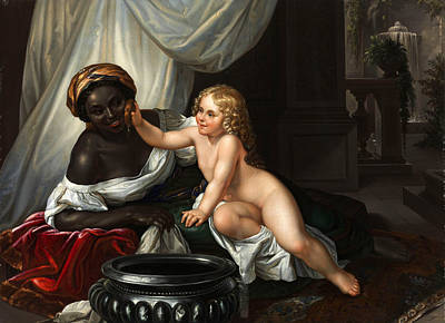 Painting - Washing A Moor by After Carl Joseph Begas