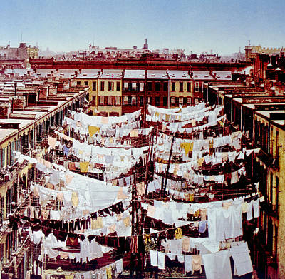 Tenement Photograph - Washing Hung Outside Tenement Buildings by Everett