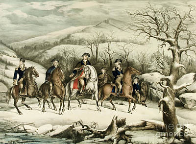 Snow Scene Landscape Painting - Washington And His Staff At Valley Forge by American School