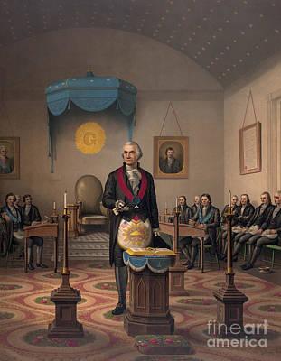 Washington As A Master Mason Print by American School