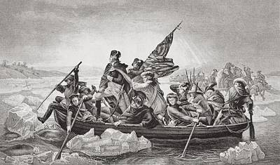 River Scenes Drawing - Washington Crossing The Delaware Near by Vintage Design Pics