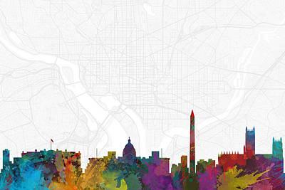 Splatter Digital Art - Washington Dc Cityscape And Streetmap Skyline by Jurq Studio