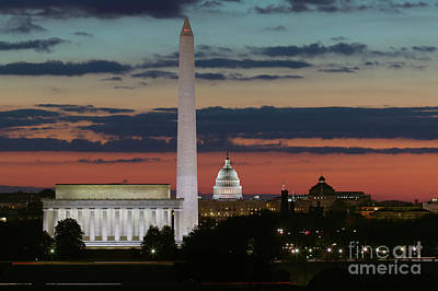Washington Dc Landmarks At Sunrise I Print by Clarence Holmes