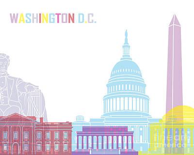 Washington Dc Skyline Pop Print by Pablo Romero