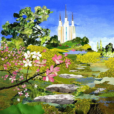 The Church Mixed Media - Washington Dc Temple by Robin Birrell