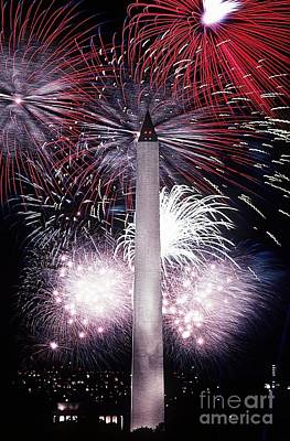 Washington Monument Mixed Media - Washington Monument Fireworks by Frederick Holiday