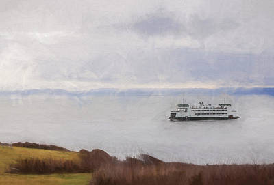 Washington State Ferry Approaching Whidbey Island Print by Carol Leigh