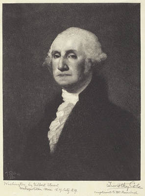 John Quincy Adams Drawing - Washington by Timothy Cole After Gilbert Stuart