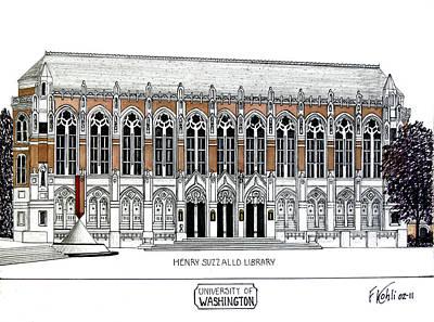 Pac-10 Universities Drawings Mixed Media - Washington University by Frederic Kohli