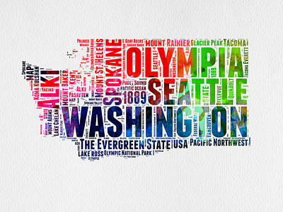 Word Cloud Mixed Media - Washington Watercolor Word Cloud Map by Naxart Studio