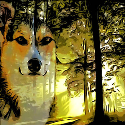 Dog In Landscape Digital Art - Watcher Of The Woods by Kathy Kelly