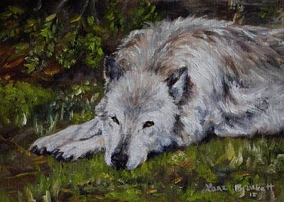 Wolf Face Painting - Watchful Rest by Lori Brackett