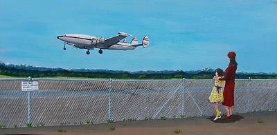 Airliners Painting - Watching Daddy Go by Gene Ritchhart