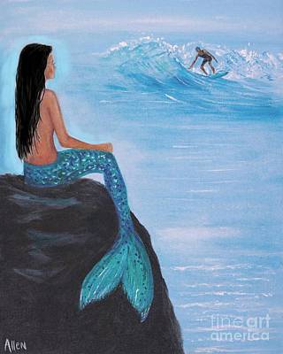 Painting - Watching My Surfer by Leslie Allen