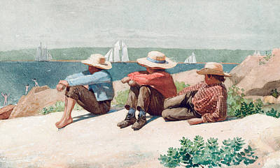 Hedge Painting - Watching Ships   Gloucester by Winslow Homer