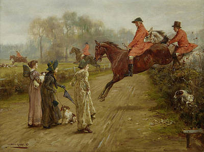 Women On Horses Painting - Watching The Hunt by MotionAge Designs