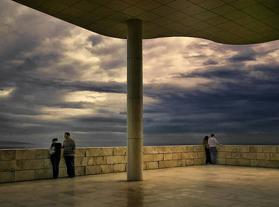 Watching The Storm At The Getty Print by Lynn Andrews