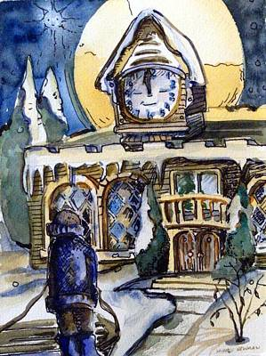 Watching The Village Clock Print by Mindy Newman