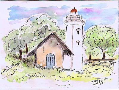 Wash Drawing - Watchtower by Subhamay Ray