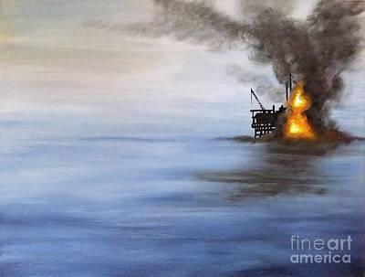 Sea Platform Painting - Water And Air Pollution by Annemeet Hasidi- van der Leij