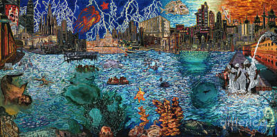 Undersea Painting - Water City by Emily McLaughlin