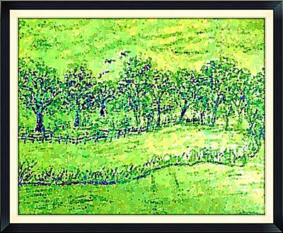 Water Color Of Apple Orchard Farm Print by Debra Lynch