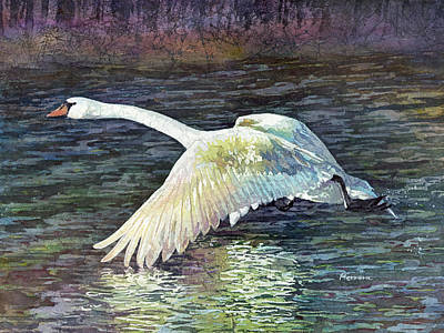 Swan Painting - Water Dancer by Hailey E Herrera