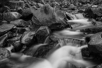 Water Falling On Boulder Creek In Black And White Print by James BO  Insogna