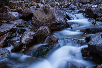 Water Falling On Boulder Creek Print by James BO  Insogna