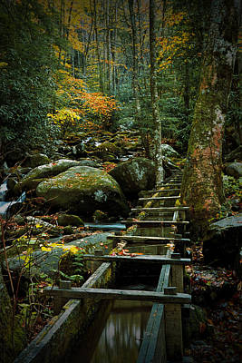 Water Flume In Autumn By The Roaring Fork Stream At Alfred Reagan's Tub Mill Print by Randall Nyhof
