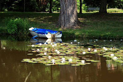 White River Scene Photograph - Boat Among The Water Lilies by Aidan Moran