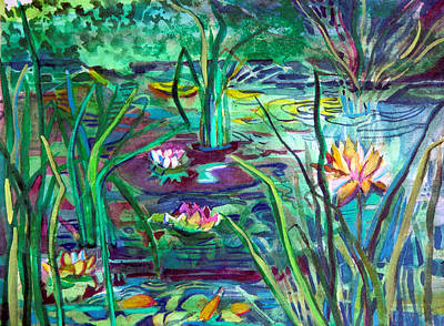 Lilies Mixed Media - Water Lily Pond by Mindy Newman