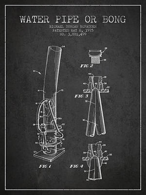 Bong Digital Art - Water Pipe Or Bong Patent 1975 - Charcoal by Aged Pixel